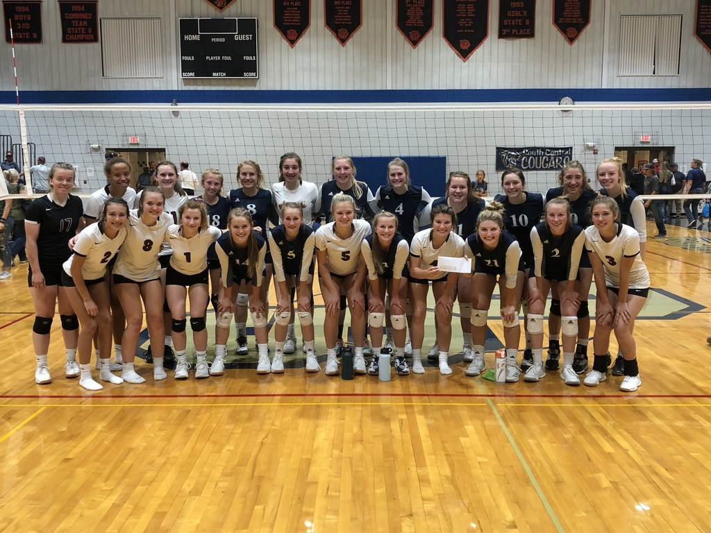 burke and PG volleyball teams with check